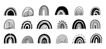 Set of hand drawn abstract rainbows in trendy scandinavian style.Cute rainbows in different shapes in contemporary art style.Printable black rainbows Vector illustration on white background Vectores