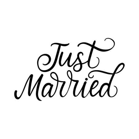 Just married elegant lettering inscription with decorative elements. Black ink wedding quote design for wedding party, bridal shower, engagement, wedding photo albums, textile, greeting card or invitation. Vector illustration.