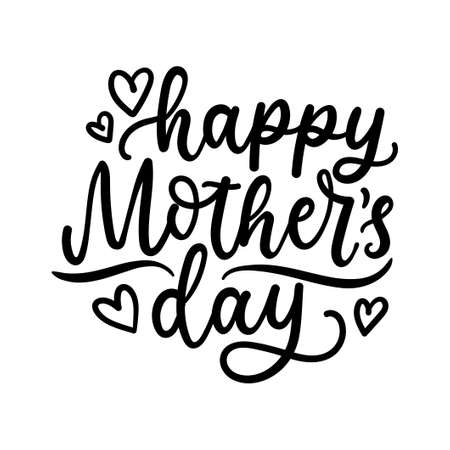 Happy Mother's day greeting card. Modern calligraphy with hearts and decor elements. Typographical vector illustration. Vectores