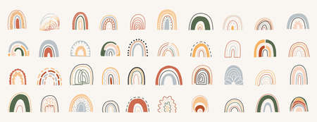 Contemporary art style colorful rainbows set.Hand drawn rainbows in different shapes.Scandinavian style.Cartoon vector illustration in children's drawings style with earthy colors.Vintage rainbow set.