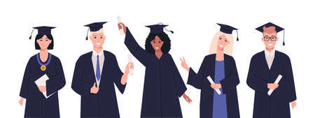 Group of multicultural students celebrate university graduation. Happy teenagers in academic gowns with diplomas. Graduation celebration concept. Vector flat style illustration