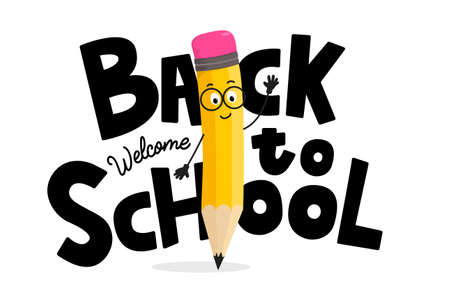 Back to school hand drawn banner design with colorful pencil character. Welcome back to school lettering inscription with yellow pencil waving a hand. Education concept flat style vector illustration