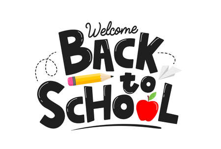 Welcome back to school hand drawn card with yellow pencil, apple, paper plane and lettering. School background concept isolated on white for poster, card, print, invitation, sale. Vector illustration