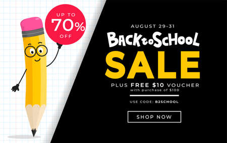 Back to school sale vector banner design template with cute yellow pencil character. Flat style vector illustration for retail marketing promotion. Trendy school shopping concept with lettering. Stock Illustratie