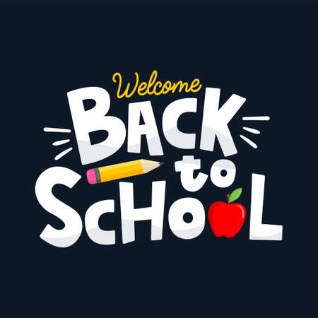 Back to school educational concept with yellow pencil, red apple and lettering. School background flat style vector illustration. Template for school retail promotion, shopping, poster, card, print.