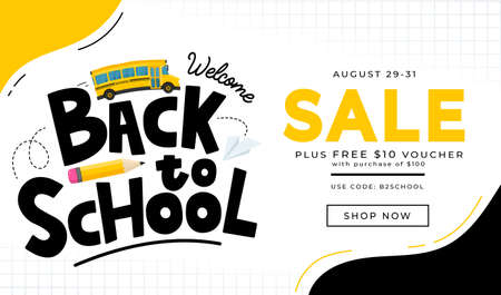 Back to school sale vector web banner template with colorful bus, pencil and lettering. Yellow, black and white school shopping poster design. Flat style illustration. Educational concept background