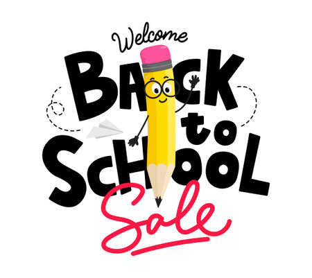 Back to school sale poster with funny yellow pencil character and lettering. Flat style School shopping design template vector illustration. Welcome back to school sale design for discount promotion