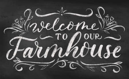 Welcome to our farmhouse vintage chalkboard poster or sign design with lettering. Hand drawn retro vector illustration for rustic home decor. Chalk lettering with decorative flourish elements.