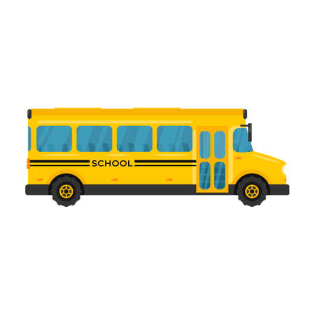 School bus icon vector illustration. Flat style yellow vehicle isolated on white background.