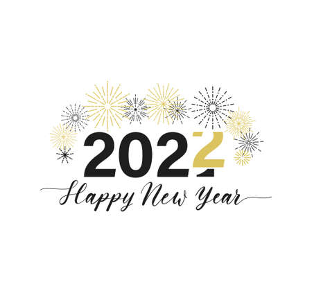Merry Christmas and Happy New Year typography greeting card with lettering and fireworks. 2022 New Year design template for poster, banner, print etc. Vector flat style illustration