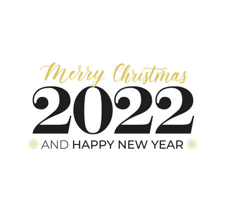 Merry Christmas and Happy New Year typography greeting card with lettering and snowflakes. 2022 New Year design template for poster, banner, print etc. Vector flat style illustration