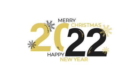 Merry Christmas and Happy New Year typography greeting card with lettering. 2022 New Year design for poster, banner, print etc. Vector illustration. Merry Christmas gold and black elegant design Stock Illustratie