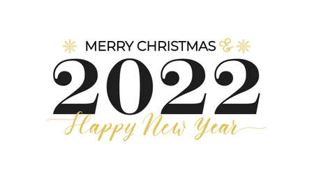 Merry Christmas and Happy New Year typography greeting card with lettering. 2022 New Year design for poster, banner, print etc. Vector illustration Stock Illustratie
