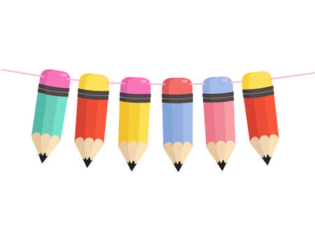 Flat style pencils garland. Colorful decor element for back to school, graduation party, invitation, prints, classroom etc. Vector illustration. Green, red, yellow, blue and pink cartoon pencils.
