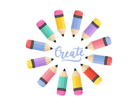 Creative concept with colorful pencils and lettering. Create inspirational hand drawn design. Flat style vector illustration Stock Illustratie