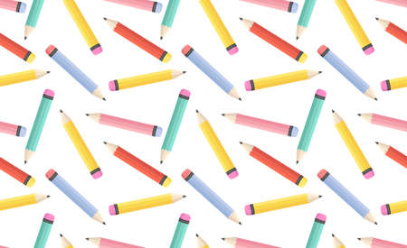 Seamless pattern with colorful pencils. Flat style vector illustration for greeting card, print, back to school, banner, party, business etc. Pencil pattern design.