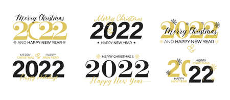 2022 Happy New Year typographic label, stamp. Flat style vector illustration. Merry Christmas templates for  banner, greeting card etc. Black, white and gold holiday design.