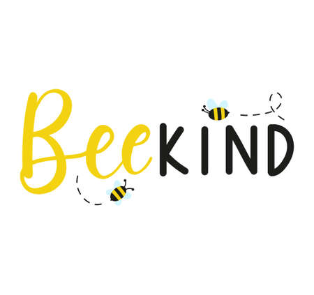 Bee kind inspirational hand written quote with cute bees. Kindness motivational design. Flat style vector illustration. Be kind lettering. Stock Illustratie