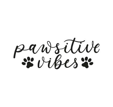 Pawsitive vibes inspirational lettering design with paw prints. Stay positive. Positive vibes. Motivational lettering card for pet lovers isolated on white. Vector illustration Stock Illustratie