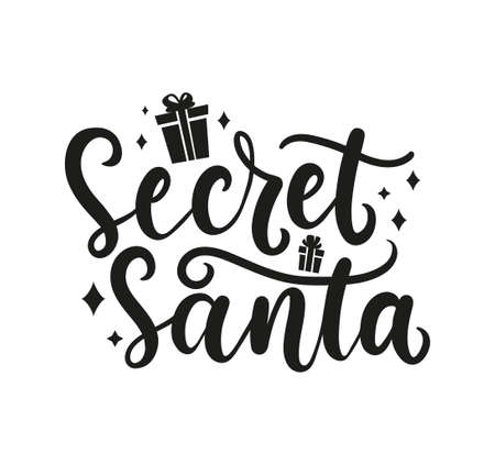 Secret Santa Christmas lettering with doodles isolated on white background. Holiday hand drawn design for greeting card, print, banner, textile etc. Flat style vector illustration
