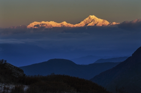 Sunrise on Mount Kanchenjugha, at Dawn, Sikkim photo