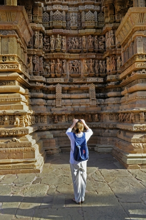 single Foreign visitor at Lakshmana Western Temple of Khajuraho, Khajuraho, Madhya Pradesh, India