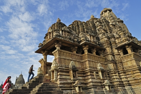 visitors at Vishvanatha Temple, dedicated to Lord Shiva, Western Temples of Khajuraho, Khajuraho, Madhya Pradesh, India