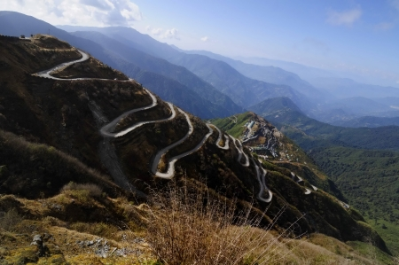 Curvy roads on Old Silk Route, Silk trading route between China and India, Sikkim photo