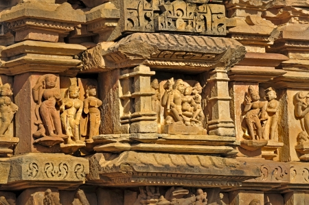 Human Sculptures at Vishvanatha Temple,  Khajuraho, India   It is an UNESCO world heritage site  A popular tourist destination for tourists from all over the world  photo