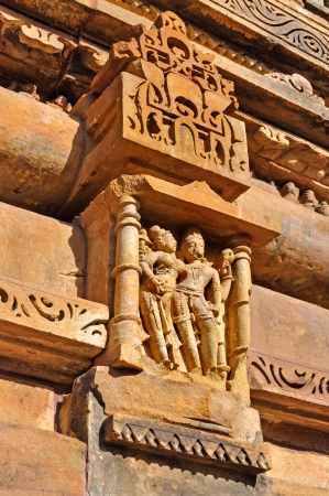 sculptures at Vishvanatha Temple, Western temples of Khajuraho, Madhya Pradesh, India  photo
