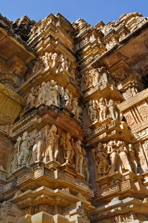 sculptures at Vishvanatha Temple, Western temples of Khajuraho, Madhya Pradesh, India  It is an UNESCO world heritage site  A popular tourist destination for tourists from all over the world  photo