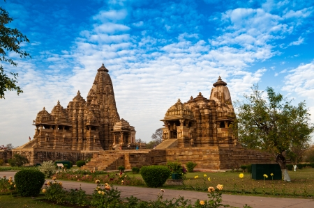 Kandariya Mahadeva Temple and Devi Jagadambhi Temple, dedicated to Lord Shiva, Western Temples of Khajuraho, Madya Pradesh, India  Фото со стока