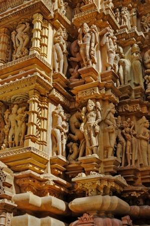 Sculptures of Kandariya Mahadeva Temple, dedicated to Lord Shiva, Western Temples of Khajuraho, India   photo