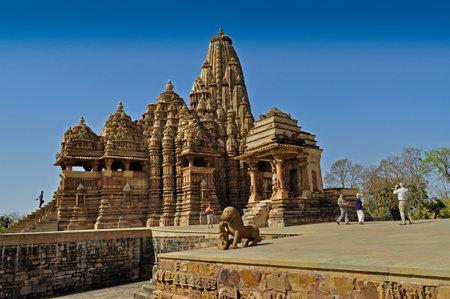Khajuraho, Madhya Pradesh , India - March 2011    Visitors at Kandariya Mahadeva Temple, dedicated to Lord Shiva, Western Temples of Khajuraho on 21st March, 2011  Khajuraho is an UNESCO world heritage site, a popular tourist destination from all over the Editorial