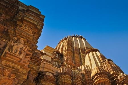 Top of Kandariya Mahadeva Temple, dedicated to Lord Shiva, Western Temples of Khajuraho, Madya Pradesh, India - UNESCO world heritage site  Popular world tourist destination  photo