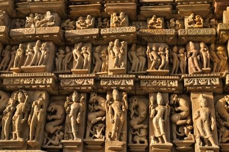 Sculptures of Kandariya Mahadeva Temple, dedicated to Lord Shiva, Western Temples of Khajuraho, Madya Pradesh, India - UNESCO world heritage site  Popular world tourist destination  photo