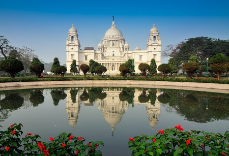 calcutta: Victoria Memorial, Kolkata , India - reflection on water  A Historical Monument of Indian Architecture  It was built between 1906 and 1921 to commemorate Queen Victoria