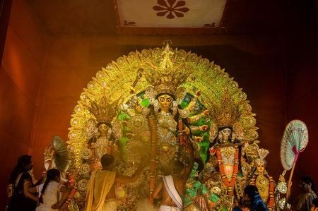 KOLKATA , INDIA - OCTOBER 11, 2013   Durga Puja festival celebration  It is the biggest religious festival of Hinduism and local Bengali community