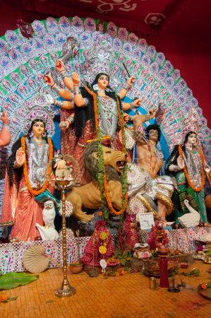 puja: KOLKATA , INDIA - OCTOBER 11, 2013   Durga Puja festival celebration  It is the biggest religious festival of Hinduism