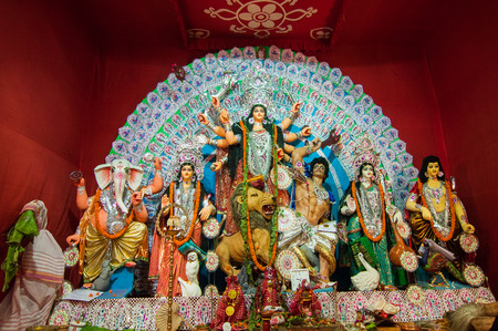 KOLKATA , INDIA - OCTOBER 11, 2013   Durga Puja festival celebration  It is the biggest religious festival of Hinduism