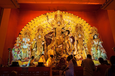 KOLKATA , INDIA - OCTOBER 12, 2013   Durga Puja festival celebration  It is the biggest religious festival of Hinduism and local Bengali community