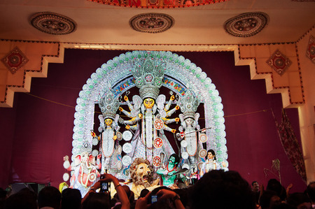 KOLKATA , INDIA - OCTOBER 12, 2013   Durga Puja festival celebration  It is the biggest religious festival of Hinduism and Bengalis