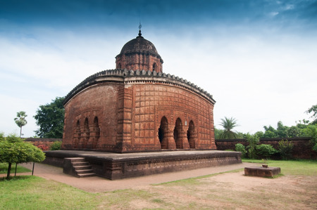 tourist spot: Madanmohan Temple, Bishnupur , India - made of terracotta  baked clay  - world famous tourist spot
