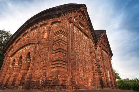 tourist spot: Jorbangla Temple, Bishnupur , India - made of terracotta  baked clay  - world famous tourist spot  Stock Photo