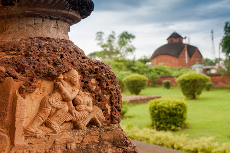tourist spot: Radhagobinda Temple, Bishnupur , India - made of terracotta  baked clay  - world famous tourist spot