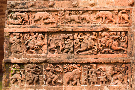 west bengal: Figurines made of terracotta at Radhagobinda Temple, Bishnupur , West Bengal, India