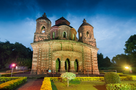 tourist spot: Shyamroy Temple, Bishnupur , India - made of terracotta  baked clay  - world famous tourist spot