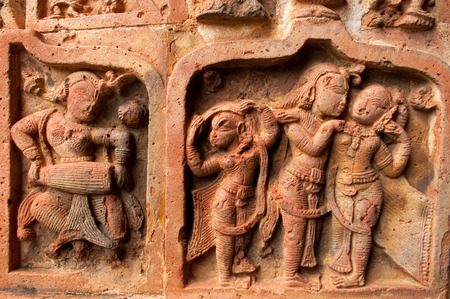 west bengal: Figurines made of terracotta at Madanmohan Temple, Bishnupur , West Bengal, India