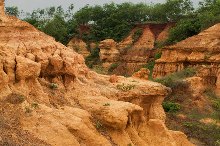 west bengal: gongoni, called  grand canyon  of west bengal, gorge of red soil, India
