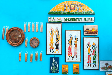 KOLKATA, WEST BENGAL , INDIA - DECEMBER 14TH 2013   Murals, Artworks of handicraft, on display during the Handicraft Fair in Kolkata - the biggest handicrafts fair in Asia  photo